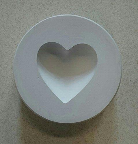 KBO Gipsform - Eindrückform aus Gips - Herz Form N°3 - cirka Maße maximale Breite 14cm / Länge 13cm