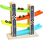 Akrobo Colourful Wooden Track Race Set with 4 Colourful Miniature Cars Sliding Track