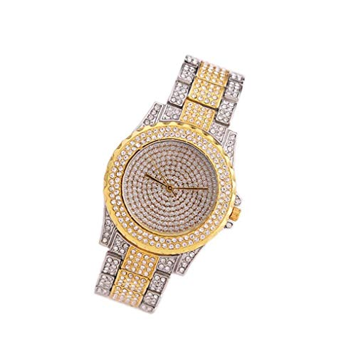 Women Bracelet Watch Analogue Quartz Watch with Full Crystal Diamonds Alloy Armband Wristwatch Built-in Battery Golden Exquisite and Beautiful Decoration