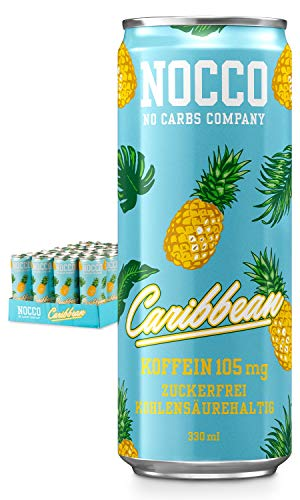 NOCCO BCAA (No Carbs Company) (24 x 330 ml con barattoli di deposito (BCAA Caribbean)