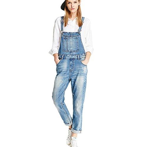 Damen Latzhosen Jeanshosen Denim Overall Jumpsuit,Blue,XL