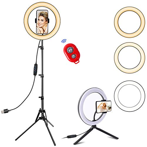 """Selfie Ring Light with Tripod Stand and Cell Phone Holder for Live Stream/Tiktok, SPRITREE 10.2"""" Dimmable LED Camera Ringlight for Makeup/YouTube, Compatible with iPhone & Android"""