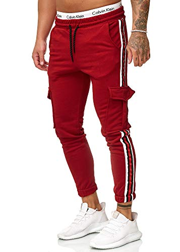 OneRedox Herren | Jogginghose | Trainingshose | Sport Fitness | Gym | Training | Slim Fit | Sweatpants Streifen | Jogging-Hose | Stripe Pants | Modell 1224 Bordeaux L