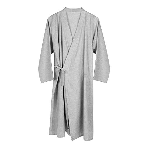 Schlafrock Kimono Herren Männer Pyjama Frühling Sommer Herbst Schlafanzug Baumwolle weich Gemütlich Lange Ärmel Sleepwear modern Schlafshirt Casual Morgenmantel Sleepshirt für Bad Schlafen