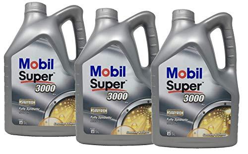 Aceite Lubricante Motor Sintético - Mobil Super 3000 X1 5W-40, Pack 15 litros