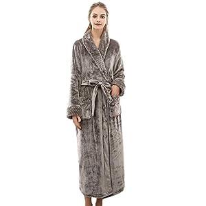 VJGOAL Mujer Invierno cálido cálido Alargado Coral Polar Bata de Felpa Mantón Albornoz de Manga Larga con Cordones Robe Coat Pijamas(x-Large,Gris)