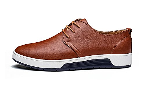 ZZHAP Men's Casual Oxford Shoes Breathable Flat Fashion Sneakers 02Brown US 11.5