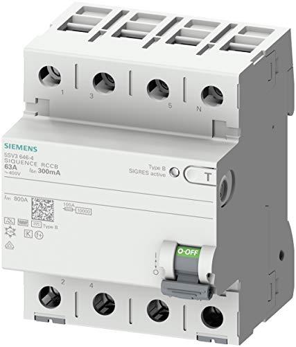 Siemens 5SV3347-4 - Interruptor diferencial de 4 pines tipo B retardo en corto tiempo de entrada: 80 A, 30 mA, 400 V 4001869549057