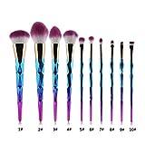 1 juego de pinceles de maquillaje Cosmetic Foundation Liquid Blush Eye Shadow Mixed Fan Eyeliner Contour Brush Makeup Kit a 10
