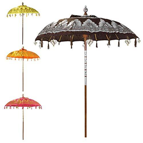 Oriental Galerie Bali Sonnenschirm Balinesischer Garten Schirm Baumwolle Sonnenschutz Handarbeit Retro Vintage Dekoschirm 2-teilig ca.180cm Ø Doppelte Bemalung, Farbe:Nr.4
