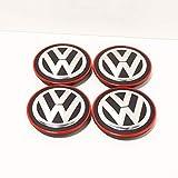 VAG Recambio Original Volkswagen - Juego 4 Piezas x Tapas Centro Ruedas Llantas de Aleación (Borde Cromado/Rojo), 5G0601171BLYC