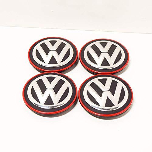 VAG Ersatzteil Original Volkswagen - Set 4 Teile x Radkappen Mitte Räder Alufelgen (Chrom/Rot), 5G0601171BLYC