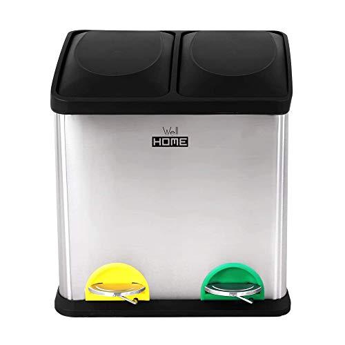 Wellhome Cubo ecológico 16 litros de 2 Compartimentos, Basura/Cubos de Reciclaje, Gran Capacidad, para Papel, Vidrio y Plástico, Ideal para Hogar/Oficina/Interior/Exterior, Plateado (Cromado), 16L