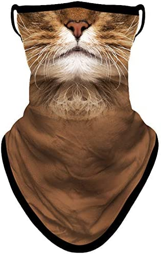 BNKIBN Animal Cat Face Mask Bandana with Ear Loops Neck Gaiter Face Scarf Cover for Men Women product image