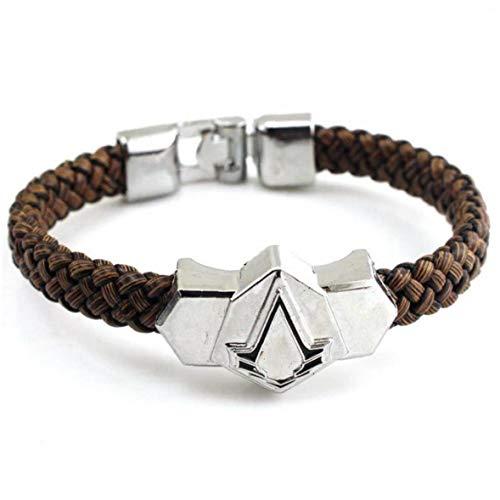 Zonfer Assassins Creed PU-Leder-Armband-Wellen Braid-Armband-Legierungs-Armband Schmuck