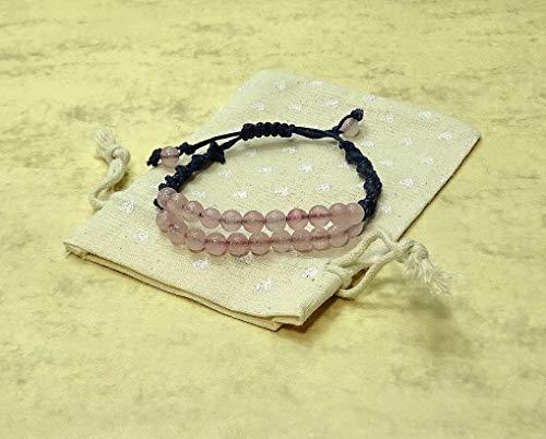 Rosenquartz Halbedelstein Perlen-Armband (light pink, opal) mit dunkelblauer Wachskordel, verstellbar, Sabijou