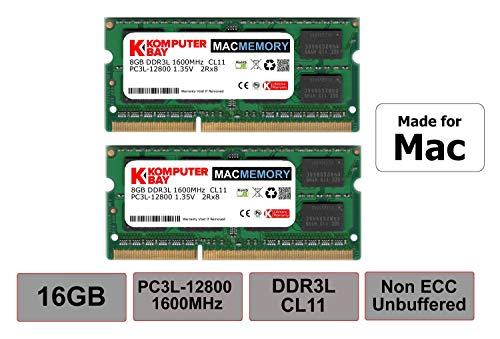 Komputerbay MACMEMORY 16GB (2x8GB) DDR3L PC3L-12800 1600MHz SODIMM 204-Pin Laptop-Speicher für Apple Mac