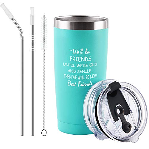 We'll Be Friends Best Friend Travel Tumbler, Inspirational Friendship Birthday Gifts for Women Girls Sisters, Gingprous 20 Oz Insulated Wine Tumbler Cup with Lid, Mint