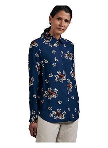 Seidensticker Damen Hemdbluse Langarm Print Bluse, Blue Depth, 44