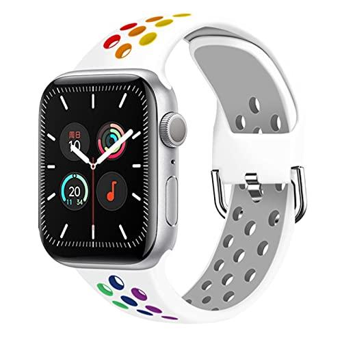 FYWWJ Correa para Apple Watch Band SE 40 mm 44mm/42mm/38mm Accesorios Silicona Sport Correa iWatch Series 6 SE 5 4-White Rainbow, 42mm o 44mm, SM