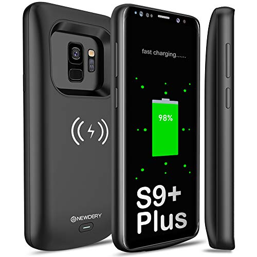 NEWDERY Upgraded Samsung Galaxy S9 Plus Battery Case Qi Wireless Charging Compatible, 5200mAh Slim Rechargeable Extended Charger Case Compatible Samsung Galaxy S9+ Plus (6.2 Inches Black)