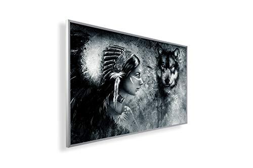 Könighaus Fern Infrarotheizung – Bildheizung in HD mit TÜV/GS - 200+ Bilder - Mit Smart Thermostat + Könighaus APP übers Handy - 300 Watt -078. Indianer und Wolf Black Edition_WR