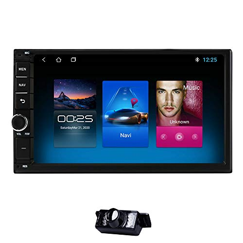 Android 10 hizpo 7 Inch Universal 2 Din in Dash Car Audio Video Player 2G+32G Supports GPS Stereo Radio BT USB + Reverse Camera