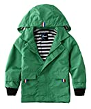 Hiheart Boys Waterproof Hooded Jackets Cotton Lined Rain Jackets Green 3T