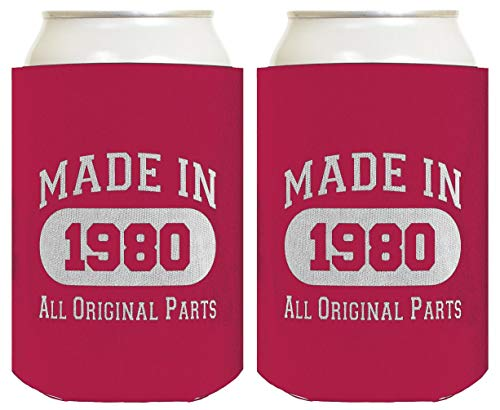 40th Birthday Gift Coolie Made 1980 Can Coolers Coolies 2 Pack Magenta
