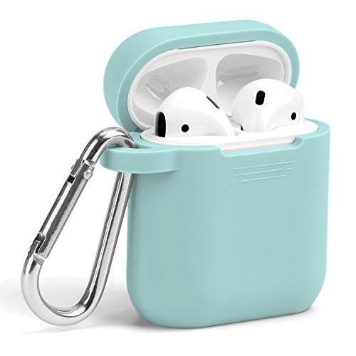 AirPods Case, GMYLE Silicone Protective Shockproof Wireless Charging Airpods Earbuds Case Cover Skin with Keychain Set, Women Girls Men, for Apple AirPods 2 & 1