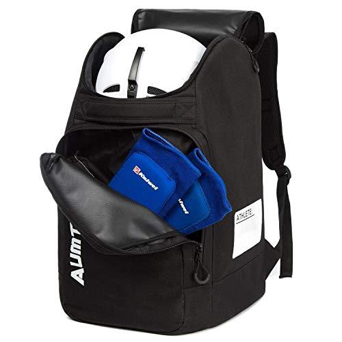AUMTISC Skischuhtaschen mit Helmfach und Rucksackgurten, Skirucksack Skischuhrucksack mit Helmtasche, Skitasche Siksack für Skistiefel, Schlittschuhe, Snowboard Schwarz