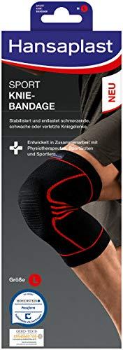 Hansaplast Sport Knie-Bandage, Kniebandage stabilisiert und unterstützt das Gelenk, Bandage mit Patella-Einlage hilft die Kniescheibe zu entlasten, Größe L/XL
