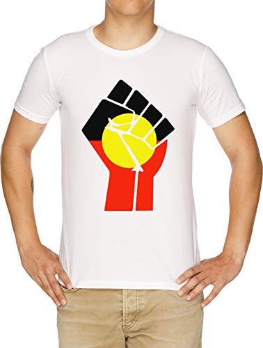 Elevado Puño - Aborigen Bandera Camiseta Hombre Blanco