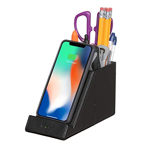Pencil Holder Pen Desk Organizer QI Certified Wireless 10W Fast Cell Phone Charger Makeup Stand Office Gift iPhone 12 11 Xs MAX XR XS X8 + Samsung Galaxy S20 S10 S9 + S8 + Note 10: (NO AC Adapter)