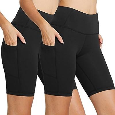 """BALEAF Women's 8"""" High Waist Biker Workout Yoga Running Compression Exercise Shorts Side Pockets 2-Pack Black/Black Size S"""