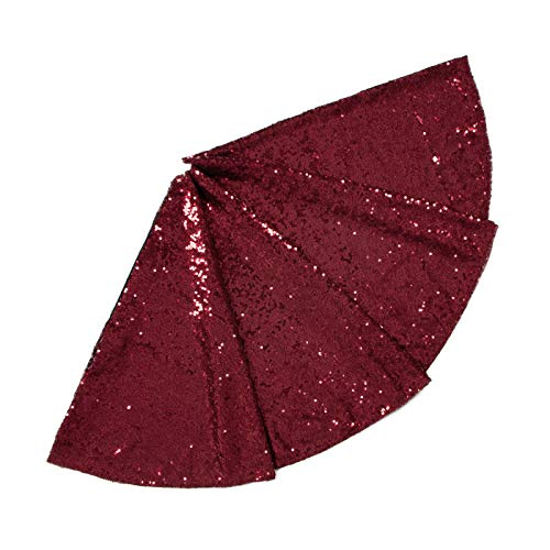 ShinyBeauty Sequin Christmas Tree Skirt 30Inch-Burgundy-Sequin Fabric Sewing for Holiday Decoration-190919