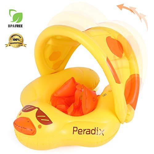 Peradix Flotador de Natación para Bebé.Flotadores para bebés con Bomba Manual,Flotador Cuello Bebe Ajustable Inflable Doble Airbag Flotador de Natación Piscina Nadar Anillo para Niños de 6 a 30 Meses