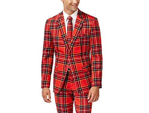 OppoSuits Homme Fun Ugly Christmas Suits for Men – The Lumberjack – Full Suit: Jacket, Pants & Tie Costume d'homme , Red, 40