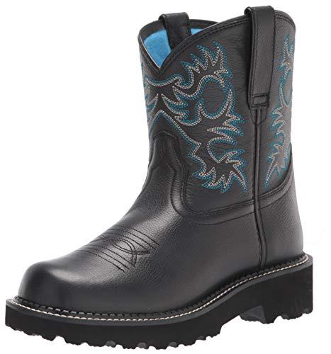 Ariat Women's Fatbaby Leather Western Boots, Black Deertan, 5.5