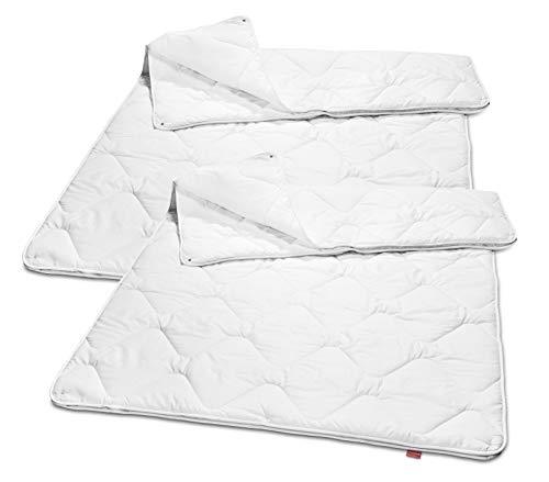 2er Set sleepling 191130 Basic 160 Bettdecke Mikrofaser 4-Jahreszeiten 155 x 220 cm, weiß