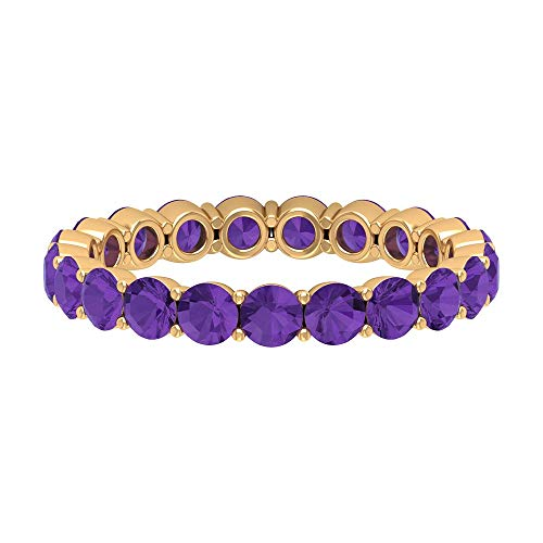 2.50 CT Lab Created Lavender Amethyst Eternity Ring (AAAA Quality), 14K Yellow Gold, Size:UK J1/2