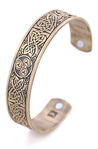 Pulsera de Amuleto Vintage con Nudo Celta irlandés y trisquelo, magnética, para Hombres y Mujeres (Bronce antiguo)