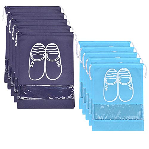 SPIKG 10 Pcs Travel Dust-proof Shoe Bags with Drawstring and Transparent Window Shoe Organizer Space Saving Storage Bags(5pcs XL and 5pcs L)
