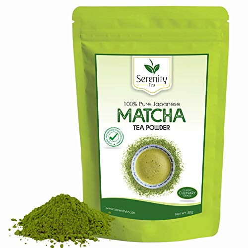 SERENITY TEA | 100% PURE JAPANESE MATCHA GREEN TEA POWDER | Culinary Grade | Certified Authentic | High Antioxidants | Low Calorie | Vegan | Non-GMO | Improves Focus | Increases Metabolism | Aids Weight Loss | Sourced From Shizuoka, Japan | 50GM | 25 CUPS