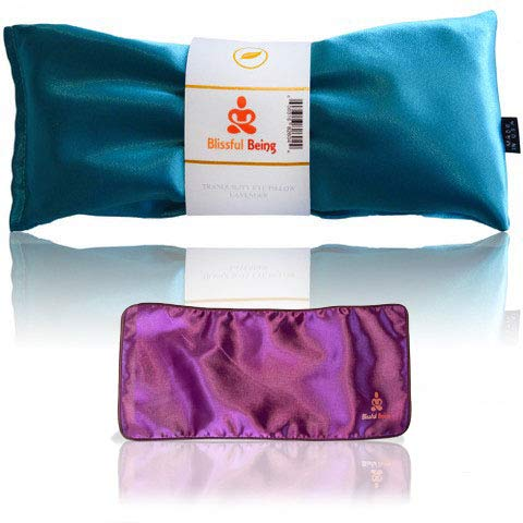 Blissful Being Lavender Eye Pillow with Purple Satin Cover- Hot or Cold Aromatherapy Eye Pillow perfect for Naps, Yoga, Meditation - Natural Relaxation (Aqua with purple cover bundle)