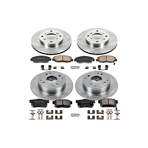 Power Stop KOE1240 Front and Rear Brake Kit- Stock Replacement Brake Rotors and...