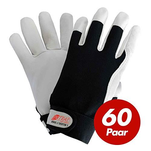 60 Paar NITRAS Dexter 1 Mechanikerhandschuhe 8905 - Nappaleder - schwarz-weiß, ungefüttert, atmungsaktiv, mit Klettverschluss, Größe:9