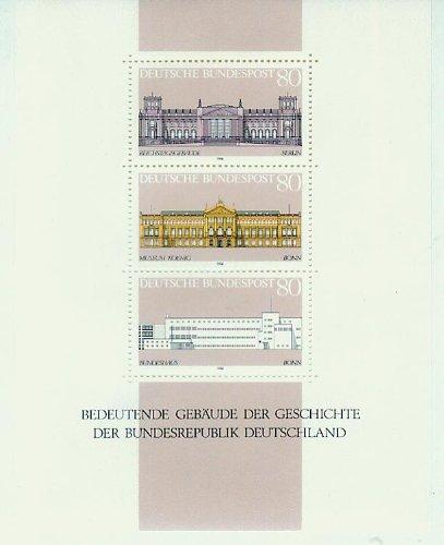 BRD Block 20 (komplett) postfrisch/ungestempelt 1986 - Bedeutende Gebäude der Geschichte der Bundesrepublik Deutschland, Reichstagsgebäude Berlin,Museum Koenig Bonn,Bundeshaus [3 Briefmarken, 80 Pf./Pfennige]