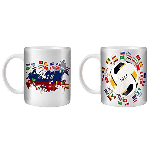 Stuff4® thee/koffiebeker 350 ml/2 pak/wereldkampioenschap 2018 Voetbal embleem/witte keramiek / ST10
