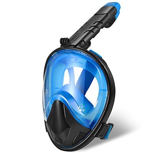 Zerhunt Tauchmaske,Panorama Schnorchelmaske Vollgesichtsmaske,mit 180° Sichtfeld und Abnehmbarer Kamerahaltung,Anti-Fog und Anti-Leck für Erwachsene(Schwarzblau)